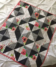 Modern Black White Floral Baby Quilt Crib by KirstenPlaceQuilts
