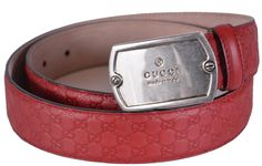 New Gucci Men's 322293 Red Leather Micro GG Guccissima Dog Tag Buckle Belt 36 90