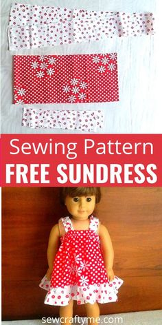 Easy Doll Sundress Sewing Pattern - Sew Crafty Me - - This is an easy sundress sewing pattern for your little girl's 18 Inch American doll. This pattern can be whipped up in less than an hour. American Girl Outfits, American Doll Clothes, American Girl Dolls, Sewing Doll Clothes, Baby Doll Clothes, Barbie Clothes, Clothes Crafts, Barbie Dress, Barbie Doll
