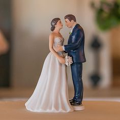 Contemporary Vintage Bride and Groom Porcelain Figurine Wedding Cake Topper - The Knot Shop