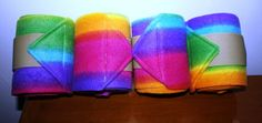 Rainbow Print Polo Wraps set of four Leg Wraps Barrel Racing Horses, Barrel Horse, Horse Boots, Horse Tack, Industrial Strength Velcro, Tack Trunk, Polo Wraps, Tack Sets, Custom Wraps