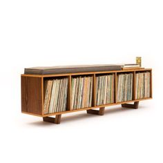 Vinyl Lp Storage Bench Lo-Fi Edition With Mid Century Modern Stylings ($950) ❤ liked on Polyvore featuring home, furniture, benches, benches & trunks, grey, home & living, living room furniture, mid century style furniture, mid century modern furniture and grey furniture