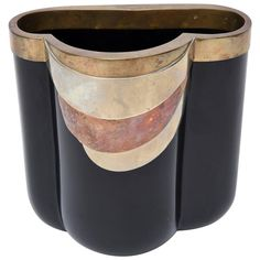 Rare Italian Black Glass and Metals Antonio Pavia Sculptural Vase /Vessel  | From a unique collection of antique and modern glass at https://www.1stdibs.com/furniture/dining-entertaining/glass/