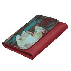 Artistic Water Lilly in Red and Blue / Women's Leather Wallet #fomadesign