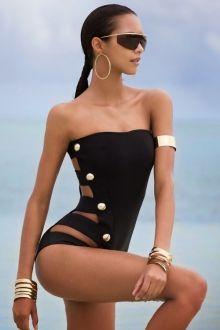 Black Strapless One-Piece Swimwear