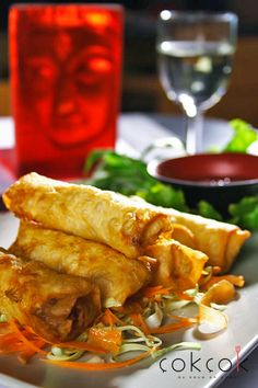 """Pa pia thot"" Chicken and vegetable spring roll; with sweet chilli sauce  #springroll"