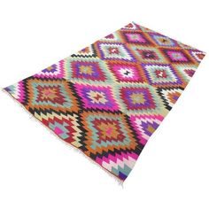 Vintage Turkish Kilim Rug - 5′8″ × 10′6″ ($1,950) ❤ liked on Polyvore featuring home, rugs, traditional handmade rugs, coloured rug, hand woven area rugs, handmade wool area rugs, kilim area rugs and kilim rugs