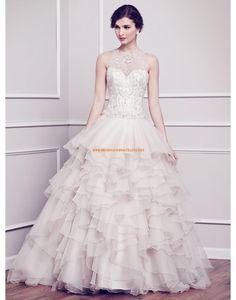 Kenneth Winston A-linie Luxuriöse Traumhafte Brautkleider aus Organza mit Perlenstickerei