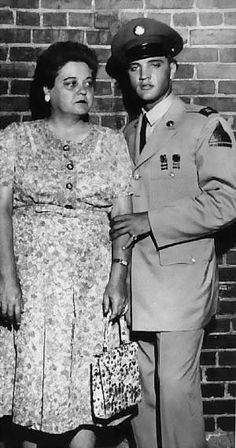 Elvis with his mother.
