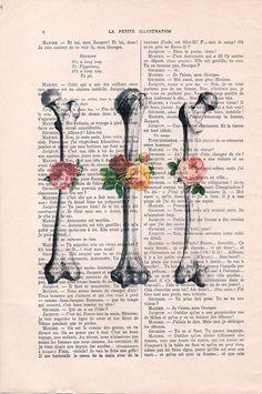 Retro arte anatomía huesos Vintage flor regalo del por NotMuchToSay