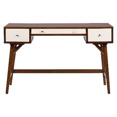Dunkirk Modern Desk Walnut/Cream - Baxton Studio, Brown