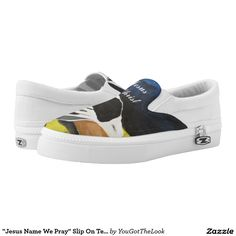 """Jesus Name We Pray"" Slip On Tennis Shoes, US Printed Shoes"