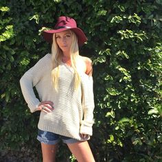 We  this chunky knit sweater. In cream, black, green or black & white striped. #melroseintheoc #chunkyknit #sweater #endlesssummer #backtoschool #shorts #style #fashion