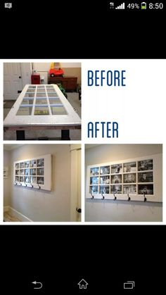 Window door picture frame with hooks