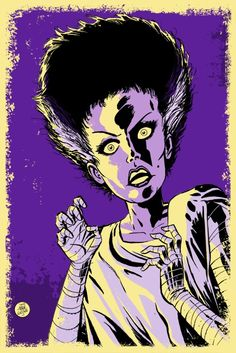 This listing is for an 11x17 Bride of Frankenstein poster illustrated by Mark Welser.