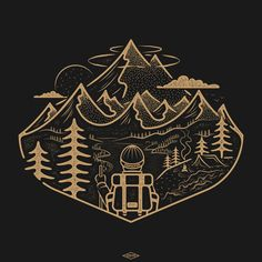 Line Art, Graphic Design Illustration, Illustration Art, Stippling Art, Painted Wooden Boxes, Nature Drawing, Sticker Design, Camping, Concept Art