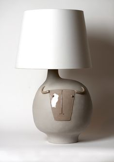 """Grey """" Toro"""" Lamp signed by DaLo Candle Lamp, Candles, Candle Sticks, Farm Yard, Lamp Bases, Lamp Design, Table Lamps, Ceramic Pottery, Lighting Ideas"""