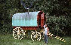 small red caravan.