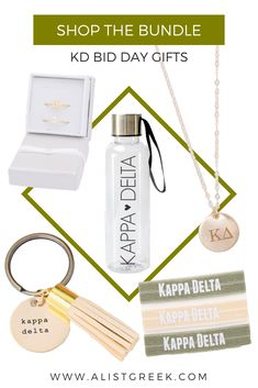 Spoil your new members this Bid Day with the cutest A-List greek accessories. Customize each product with Kappa Delta colors or your Bid Day theme colors to make the most memorable bid day bundle. Shop at www.alistgreek.com! #biddaygifts #sororitybidday #gifts #kappadelta #kd #kaydee #kdbidday #buildyourown #custom #bidday #bundle #kdgifts #greekletterjewelry #sororitygifts