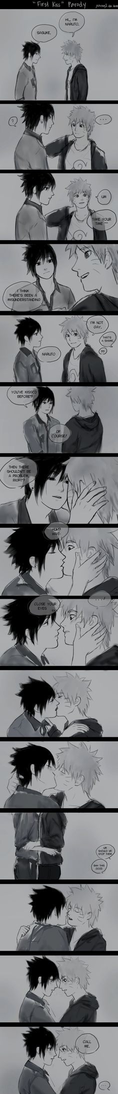 First Kiss by NoranB.deviantart.com on @DeviantArt In which Sasuke is hella gay and introduces Naruto to a whole new world :3