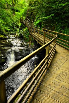 Glenariff Forest Park, Co. Antrim  Spectacular glen walk with three waterfalls. Scenic path and trails to mountain viewpoints.