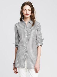 Banana Republic Womens Striped Boyfriend Shirt Size L - White from Banana Republic on Catalog Spree