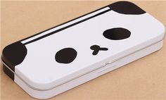 funny black and white Ojipan panda face pencil case tin can from Japan  2