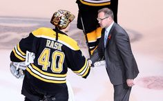 Coach Bylsma shakes hands with Boston's own Tuukka Rask, after the Bruins defeat the Pens 1-0 in Game 4 of the Eastern Conference Finals, 6/7/13