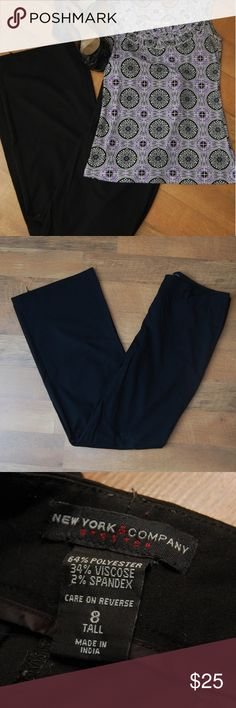 New York & Company Black Slacks, 8 Tall Straight leg black slacks perfect for the office.  One minor flaw in hem, smaller than a dime, pictured.  Size 8 Tall. New York & Company Pants Straight Leg
