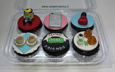 FRIENDS sitcom, Phone, Minion, Samosa, Tea cup theme customized 3D designer cupcakes for friend's birthday at Pimple Saudagar, Pune