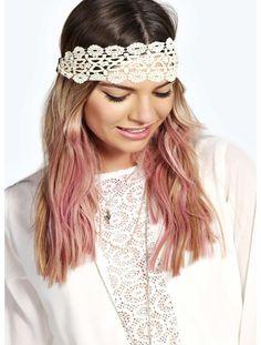 bf39eb13e50b boohoo Hiedi Crochet Lace Headband - cream azz18296 Show your locks some  love with the latest