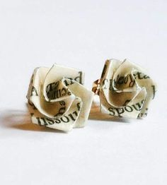 Literary Origami Rose Post Earrings | These prim little bud earrings are fashioned, by hand, from th... | Earrings