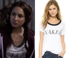 """Spencer's """"Naked"""" tee on Pretty Little Liars Pretty Little Liars Episodes, Pretty Little Liars Outfits, Fashion Tv, Fashion Outfits, Spencer Hastings Style, Pll Outfits, Tees, Shirts, Naked"""