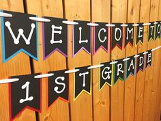 custom welcome classroom banner ANY GRADE, classroom decor, classroom sign, classroom decoration, cl Teacher Classroom Decorations, Classroom Banner, Classroom Signs, Classroom Arrangement, Sun Holidays, Welcome, Teacher Gifts, Card Stock, Messages