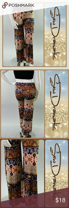 Aztec Print Palazzo Flare Pants Aztec Print Palazzo Pants with a slight flare bottom. Vibrant colors of blue and peach throughout.  Material is a polyester spandex blend giving the waist and material a little stretch.  Last picture shows the actual pants and color which is more blue than peachy as shown in the manufacture's picture. Pants Boot Cut & Flare