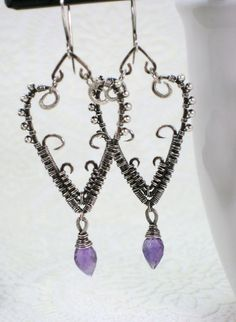 Amethyst Heart Earrings Sterling Wire Wrapped  Site: Etsy  Shop: HollyPresley  Shop Owner: Holly Presley