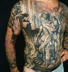 Thats a masterpiece Full Chest Tattoos, Full Back Tattoos, Chest Piece Tattoos, Badass Tattoos, Body Art Tattoos, Sleeve Tattoos, Tattoos For Guys, Guardian Tattoo, Gott Tattoos