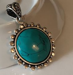 """Stabilized Blue Turquoise 1.5"""" Round Stone Pendant .925 Sterling Silver Jewelry    eBay"""