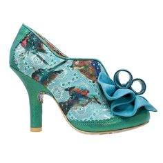 Hook Line & Sinker This gorgeous little bootie is a well worthy addition to any vintage princess's wardrobe. Blue Bird fabric upper, the toes, ankles and heels are covered in a teal suedette fabric and there is a stunning rolled bow over the toes.