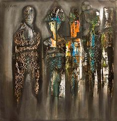 En la calle I 2010 mixta-lienzo by Nelson Domínguez: Engraver, painter, sculptor, drafter, ceramist.  Dominguez's rather conceptual work, is discernible by his knowledge of narrative disposition & color. A native of Baire, Santiago de Cuba, he studied at the Cubanancan National Art-School. He is a member of the UNEAC, Union of Writers & Artists of Cuba, & the AIAP, International Association of Plastic-Artists. Nelson has been awarded the Alejo Carpentier award & the National Cultural award.