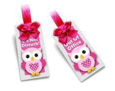 pink owl door sign doorknob hanger - office or school double sided plaque - do not disturb / out of office - SD47