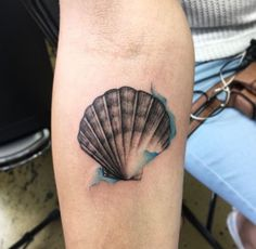 Watercolor Scallop Tattoo by June Jung