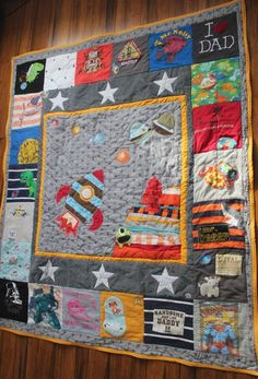 space themed custom Kokobaru memory quilt made with baby clothes