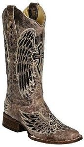 Womens Corral Black Sequin Wing Cross Inlay Square Toe Western Cowboy Boots   eBay