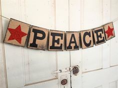 Christmas Banner PEACE Rustic Holiday Decoration by IfIWereBanners