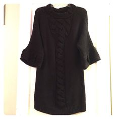 Gorgeous Elie Tahari brown sweater dress. Size M New brown Elie Tahari thick wool sweater dress with braided knit detail and bell sleeves. Size Medium. Bought at Elie Tahari store in NYC. No longer carried in stores bought a few months ago. This is new condition has been worn one time. It's beautiful the pictures don't do it justice so feel free to request more! Elie Tahari Dresses Mini