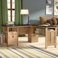 Three Posts Mirabel L-Shape Executive Desk Home Office Desks, Home Office Furniture, The Office, Small Office, Furniture Decor, Bedroom Furniture, Bedroom Decor, L Shaped Executive Desk, Armoire