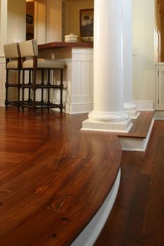 Do Your Wood Floor To The Edge Then Paint Sunken Living Room And Colums