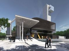 A church with a modern twist, Carlo Enzo's latest proposal for a place of worship is a concrete monolith which features a 'sky chapel', elevated walkways and a shallow pool.