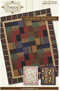Cheaper By The Dozen Quilt Pattern by Legacy Quilt Patterns at KayeWood.com. This great fat quarter friendly quilt uses 12 fat quarters to create a scrappy look. Included in the pattern is an easy to use fabric diagram that allows the quilter to see visually how the quilt will go together. This great fat quarter friendly quilt uses 12 fat quarters to create a scrappy look. Included in the pattern is an easy to use fabric diagram that allows the quilter to see visually how the quilt will go together. http://www.kayewood.com/item/Cheaper_By_The_Dozen_Quilt_Pattern/1352 $8.50